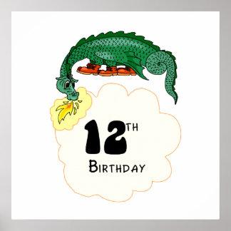 12th Birthday Dragon Posters