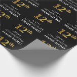 [ Thumbnail: 12th Birthday: Elegant, Black, Faux Gold Look Wrapping Paper ]