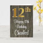 [ Thumbnail: 12th Birthday: Elegant Faux Gold Look #, Faux Wood Card ]