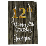 [ Thumbnail: 12th Birthday: Elegant Faux Gold Look #, Faux Wood Gift Bag ]