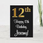 [ Thumbnail: 12th Birthday ~ Elegant Luxurious Faux Gold Look # Card ]