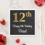 [ Thumbnail: 12th Birthday ~ Elegant Luxurious Faux Gold Look # Napkins ]