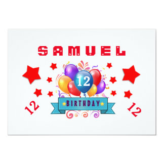 12th Birthday Festive Balloons and Stars B112 Card