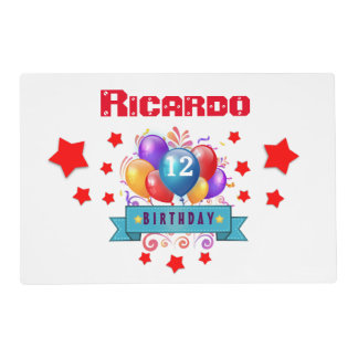 12th Birthday Festive Colorful Balloons B11BZ Placemat