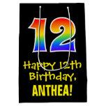 "[ Thumbnail: 12th Birthday: Fun, Bold, Colorful, Rainbow ""12"" Gift Bag ]"