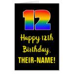 [ Thumbnail: 12th Birthday: Fun, Colorful, Happy, Rainbow # 12 Card ]