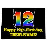 [ Thumbnail: 12th Birthday ~ Fun, Colorful, Vibrant, Rainbow 12 Gift Bag ]