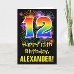 [ Thumbnail: 12th Birthday: Fun Fireworks Pattern + Rainbow 12 Card ]