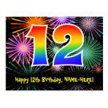 [ Thumbnail: 12th Birthday – Fun Fireworks Pattern + Rainbow 12 Postcard ]
