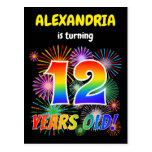 "[ Thumbnail: 12th Birthday - Fun Fireworks, Rainbow Look ""12"" Postcard ]"