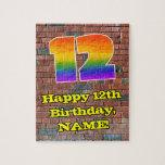 [ Thumbnail: 12th Birthday: Fun Graffiti-Inspired Rainbow 12 Jigsaw Puzzle ]