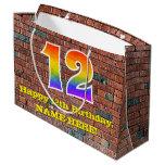[ Thumbnail: 12th Birthday: Fun, Graffiti-Inspired Rainbow # 12 Gift Bag ]