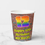 [ Thumbnail: 12th Birthday: Fun Graffiti-Inspired Rainbow 12 ]