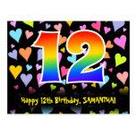 [ Thumbnail: 12th Birthday: Fun Hearts Pattern, Rainbow 12 Postcard ]