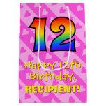 [ Thumbnail: 12th Birthday: Fun Pink Hearts Stripes; Rainbow 12 Gift Bag ]