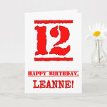 [ Thumbnail: 12th Birthday: Fun, Red Rubber Stamp Inspired Look Card ]