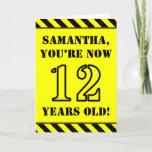 [ Thumbnail: 12th Birthday: Fun Stencil Style Text, Custom Name Card ]