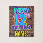 [ Thumbnail: 12th Birthday ~ Fun, Urban Graffiti Inspired Look Jigsaw Puzzle ]