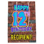 [ Thumbnail: 12th Birthday: Fun, Urban Graffiti Inspired Look Gift Bag ]