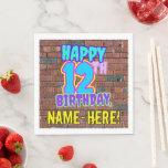 [ Thumbnail: 12th Birthday ~ Fun, Urban Graffiti Inspired Look Napkins ]