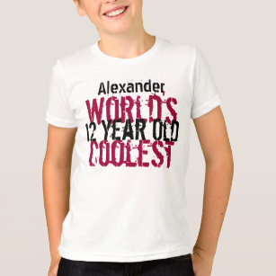 12th Birthday Gift Worlds Coolest 12 Year Old Boy T Shirt