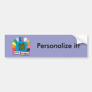 12th Birthday Gifts with Assorted Balloons Design Bumper Sticker