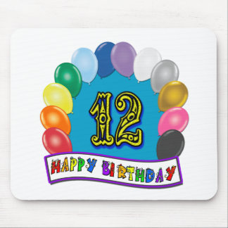 12th Birthday Gifts with Assorted Balloons Design Mouse Pad