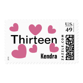 12th Birthday Girl 12 Years with Hearts PINK V09 Postage Stamp