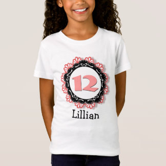 12th Birthday Girl One Year Big Number Name V65 T-Shirt