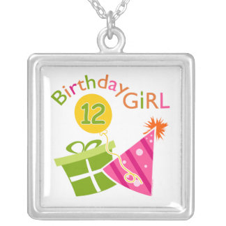 12th Birthday Girl Square Pendant Necklace