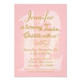 12th birthday invitations announcements zazzle 12th birthday invitation girls pink gold hearts filmwisefo Image collections