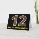 "[ Thumbnail: 12th Birthday: Name + Faux Wood Grain Pattern ""12"" Card ]"