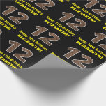 "[ Thumbnail: 12th Birthday: Name & Faux Wood Grain Pattern ""12"" Wrapping Paper ]"
