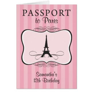12TH Birthday Paris Passport Invitation