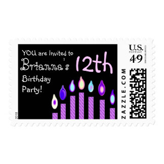 12th Birthday Party Birthday Stamp PURPLE Candles