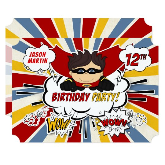 12th Birthday Party Boys Superhero Red Comic Invitation