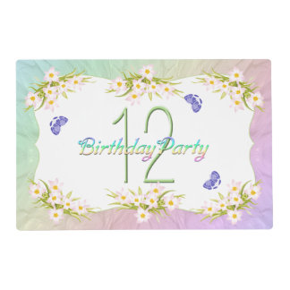 12th Birthday Party Butterflies and Wildflowers Placemat