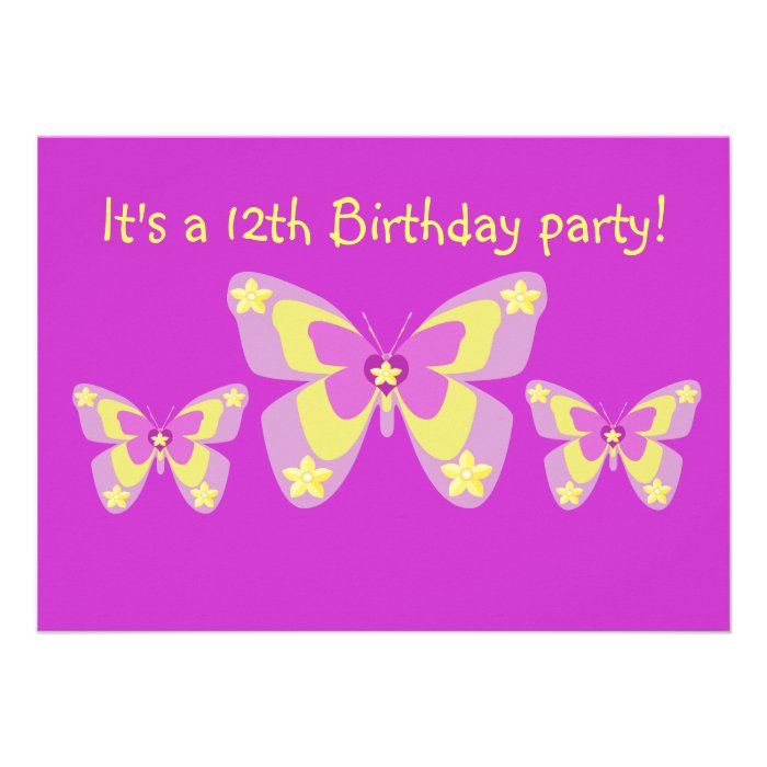 Butterfly, 15th Birthday Party Invitation