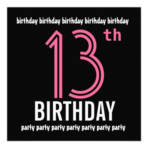 Personalized 12 birthday party invitations custominvitations4u 12th birthday party invitation template pink black filmwisefo