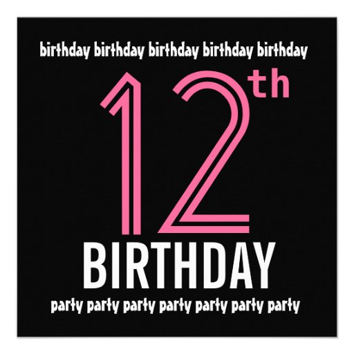 12th Birthday Party Invitation Template Pink Black 5.25 ...