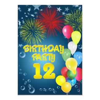 "12th Birthday party Invitation with balloons 5"" X 7"" Invitation Card"