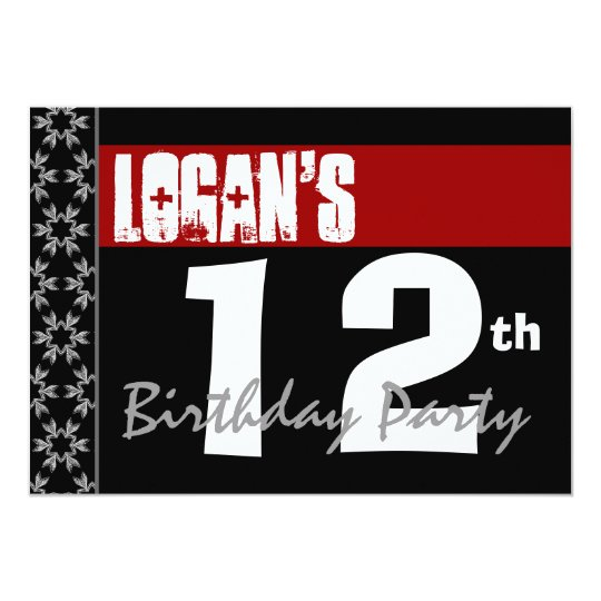 12th Birthday Party Modern Red Black and White Card