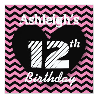 12th Birthday Party Pink Chevron Pattern A004 Card