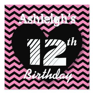12th Birthday Party Pink Chevron Pattern A004 Invitation
