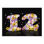 12th Birthday party, with flowered letters 5x7 Paper Invitation Card