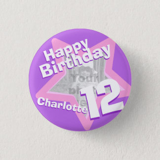12th Birthday photo fun purple pink button/badge Pinback Button