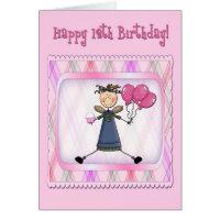 12th Birthday Pink Angel Greeting Cards