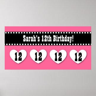 12th Birthday Pink Black Hearts Banner Custom V12H Poster