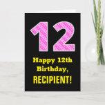 "[ Thumbnail: 12th Birthday: Pink Stripes and Hearts ""12"" + Name Card ]"