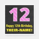 "[ Thumbnail: 12th Birthday: Pink Stripes and Hearts ""12"" + Name Napkins ]"